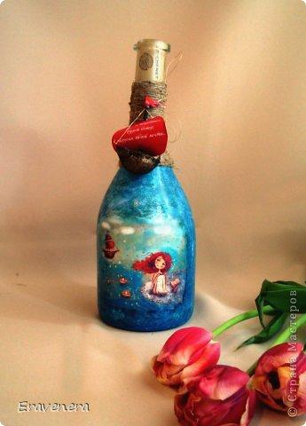 """Бутылка """"Алые паруса"""" сделана для подруги на день рождения с наилучшими поздравлениями фото 3"""