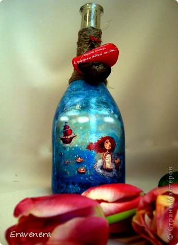 """Бутылка """"Алые паруса"""" сделана для подруги на день рождения с наилучшими поздравлениями фото 1"""