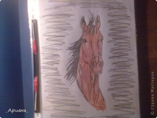 лошадь... раскрашенная восковыми мелками фото 1