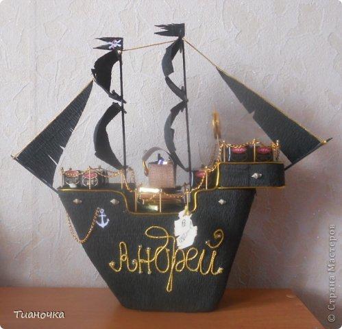 привет-привет! сегодня у меня все строгое, мужское  пиратский корабль, пригвоздили поздравление))) фото 2