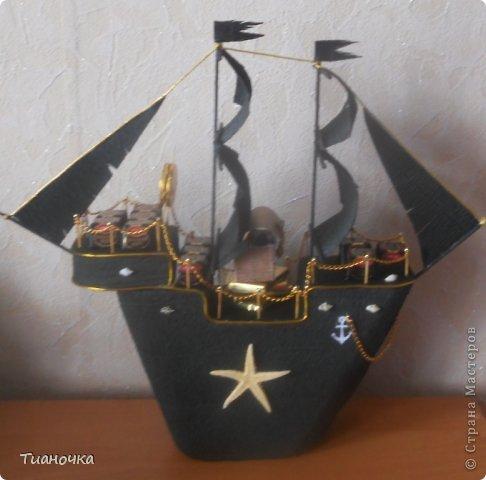 привет-привет! сегодня у меня все строгое, мужское  пиратский корабль, пригвоздили поздравление))) фото 4
