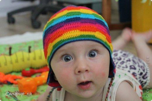 Вот связала сынуле шапку цвета радуги! фото 9