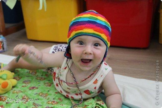Вот связала сынуле шапку цвета радуги! фото 10