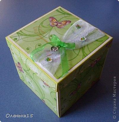 Magic box на День рождения, на заказ - для подруги, которая живет далеко. Акварельная бумага, бумага для скрапбукинга, ленты, подвески, органза, бусинки, бисер, зёрна кофе. 9*9см. фото 1