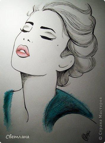 В последнее время очень понравилось рисовать людей в подобной технике :) Рисую в основном девушек. Использую при этом акварель, карандаши, маркер и ручку. фото 2