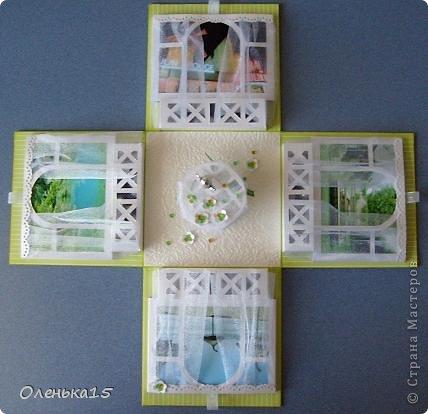 Magic box на День рождения, на заказ - для подруги, которая живет далеко. Акварельная бумага, бумага для скрапбукинга, ленты, подвески, органза, бусинки, бисер, зёрна кофе. 9*9см. фото 4