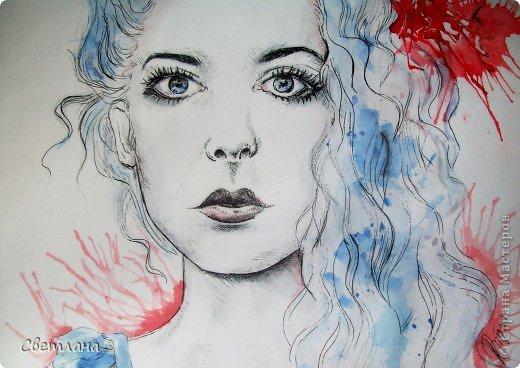 В последнее время очень понравилось рисовать людей в подобной технике :) Рисую в основном девушек. Использую при этом акварель, карандаши, маркер и ручку. фото 5