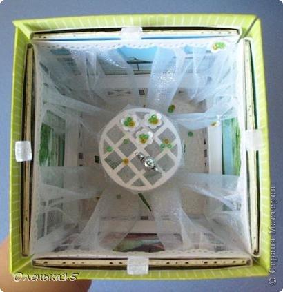 Magic box на День рождения, на заказ - для подруги, которая живет далеко. Акварельная бумага, бумага для скрапбукинга, ленты, подвески, органза, бусинки, бисер, зёрна кофе. 9*9см. фото 10