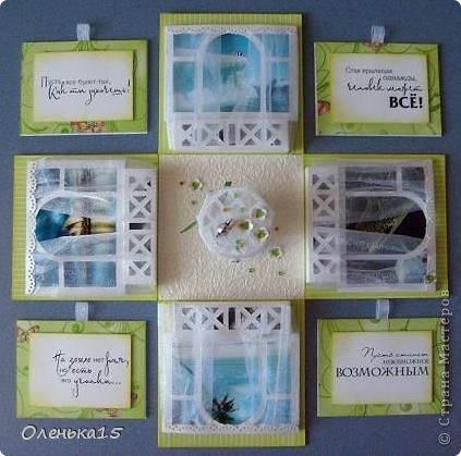 Magic box на День рождения, на заказ - для подруги, которая живет далеко. Акварельная бумага, бумага для скрапбукинга, ленты, подвески, органза, бусинки, бисер, зёрна кофе. 9*9см. фото 14