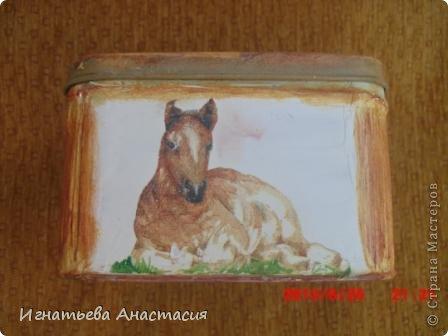 Моя сестра очень любит лошадей. А ещё она художница. я когда только начинала декупажить очень хотела сделать ей подарок. и вот что у меня тогда получилось )) фото 2