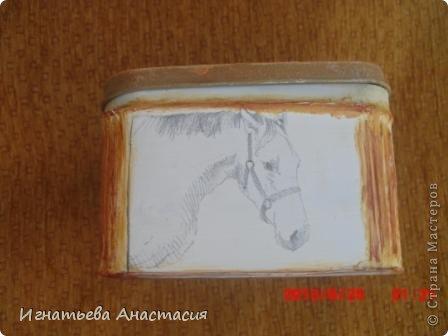 Моя сестра очень любит лошадей. А ещё она художница. я когда только начинала декупажить очень хотела сделать ей подарок. и вот что у меня тогда получилось )) фото 3