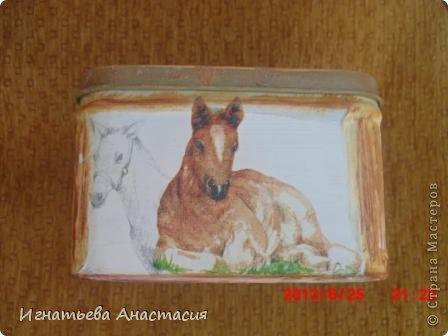 Моя сестра очень любит лошадей. А ещё она художница. я когда только начинала декупажить очень хотела сделать ей подарок. и вот что у меня тогда получилось )) фото 5