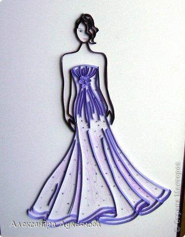 Всем доброго времени суток. Хочу представить Вам свою новую работу. В основе работы эскиз бального платья от Джорджио Армани. Сначала хотела придумать что-нибудь свое, но этот эскиз меня просто покорил. В оригинале платье бежевого цвета, но у меня не было подходящей бумаги.  фото 4