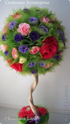*Цветущий сад*. Выполнен из органзы, искусственных цветов, сизаль, бусины, атласные ленты. Высота 43см. Очень Яркое, летнее, цветущее!!! Всем такого Яркого лета!!! фото 2