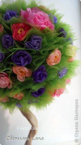 *Цветущий сад*. Выполнен из органзы, искусственных цветов, сизаль, бусины, атласные ленты. Высота 43см. Очень Яркое, летнее, цветущее!!! Всем такого Яркого лета!!! фото 5