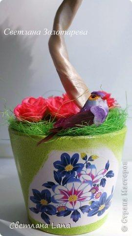 *Цветущий сад*. Выполнен из органзы, искусственных цветов, сизаль, бусины, атласные ленты. Высота 43см. Очень Яркое, летнее, цветущее!!! Всем такого Яркого лета!!! фото 6