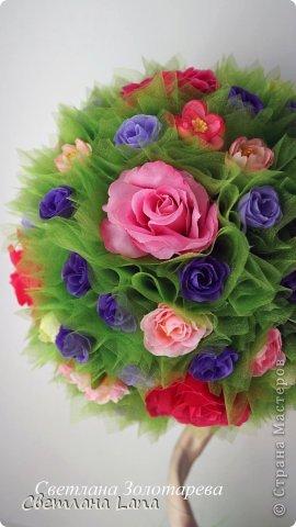 *Цветущий сад*. Выполнен из органзы, искусственных цветов, сизаль, бусины, атласные ленты. Высота 43см. Очень Яркое, летнее, цветущее!!! Всем такого Яркого лета!!! фото 7