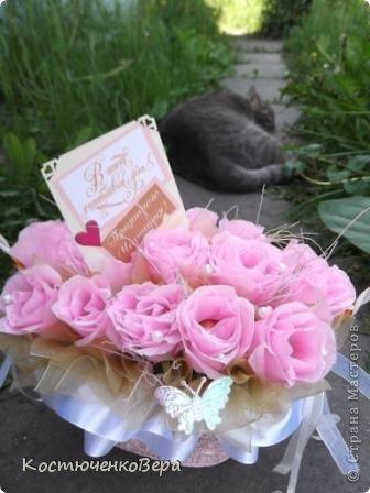 Мой первый букет в подарок на свадьбу. В фотосесии активно участвовало животное. фото 11