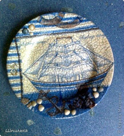 """""""Летнее настроение"""" тарелочка(материал:Тарелка,салфетка,яич.скорлупа,клей ПВА,лак акриловый,краска акриловая белая) фото 3"""