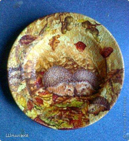 """""""Летнее настроение"""" тарелочка(материал:Тарелка,салфетка,яич.скорлупа,клей ПВА,лак акриловый,краска акриловая белая) фото 4"""
