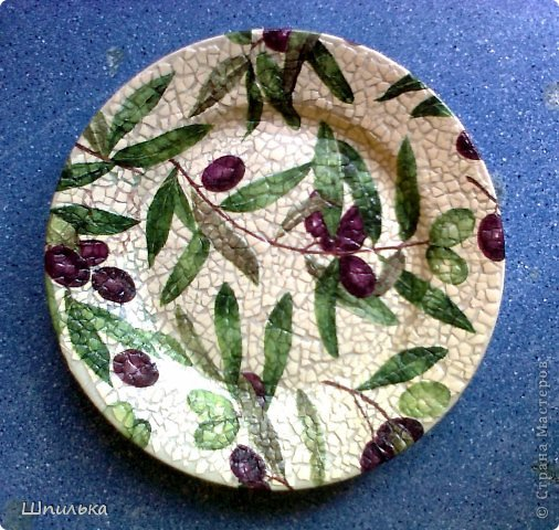"""""""Летнее настроение"""" тарелочка(материал:Тарелка,салфетка,яич.скорлупа,клей ПВА,лак акриловый,краска акриловая белая) фото 5"""
