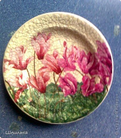 """""""Летнее настроение"""" тарелочка(материал:Тарелка,салфетка,яич.скорлупа,клей ПВА,лак акриловый,краска акриловая белая) фото 6"""