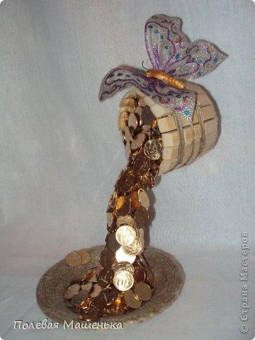 """Давно хотела сделать """"парящую чашку""""-с кофе или цветами,...Но решила для начала сделать бочонок с монетками. Спасибо за идею МУФточке фото 2"""