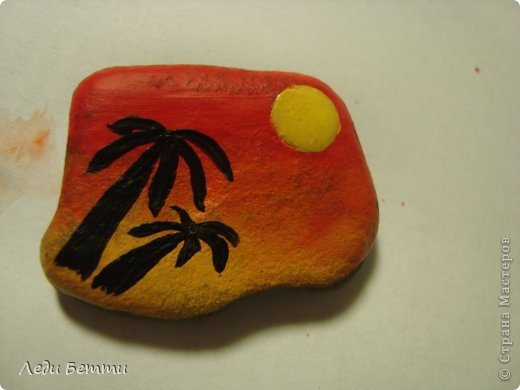 Здраствуйте жители СМ. Сегодня я решила сделать МК по росписи камней. Роспись на тему вечера в тропической стране. P.S. Первое фото обработано в программе pizap. фото 8