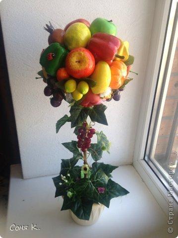 Вот такое дерево создалось за ночь. Подруга отремонтировала кухню. И я решила ей преподнести вот такой яркий солнечный фруктово-овощной микс. Как получилось судитьВам . Приятного просмотра.    фото 1