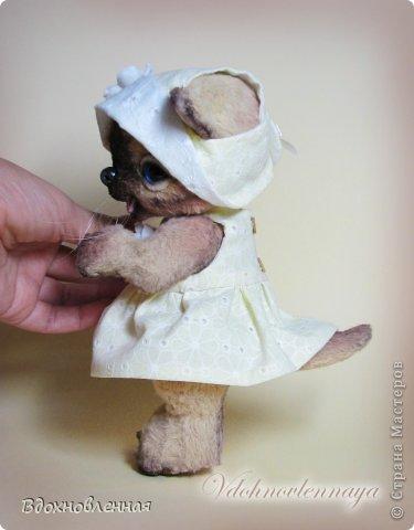 Астрит - нежный и ранимый ребенок. В ее глазках столько доверчивости и трогательности)) Кошечка пошита из вискозы, тонирована акриловыми красками, пастелью. Носик слеплен из полимерной глины. Глазки стеклянные. Одежда пошита из тонкой хлопковой ткани, все снимается. Изнаночная сторона такая же как и лицевая - швы все спрятаны. Соединения на 6 шплинтах, голова качается. Сама кошечка не стоит, но уверенно сидит. фото 7