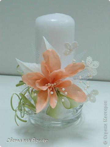 Семейный очаг для моложоженов! (Все цветы выполены из нажелатининого креп-сатина и обработаны бульками). фото 1