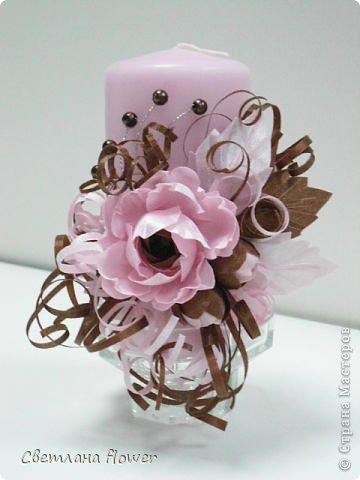 Семейный очаг для моложоженов! (Все цветы выполены из нажелатининого креп-сатина и обработаны бульками). фото 9