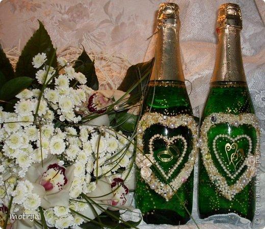 Декор предметов Свадьба Аппликация Свадьба Бисер Бусинки Бутылки стеклянные Стекло фото 1.