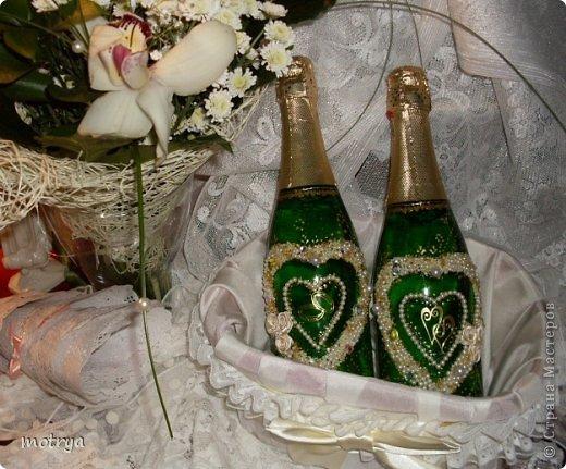 Декор предметов Свадьба Аппликация Свадьба Бисер Бусинки Бутылки стеклянные Стекло фото 3.