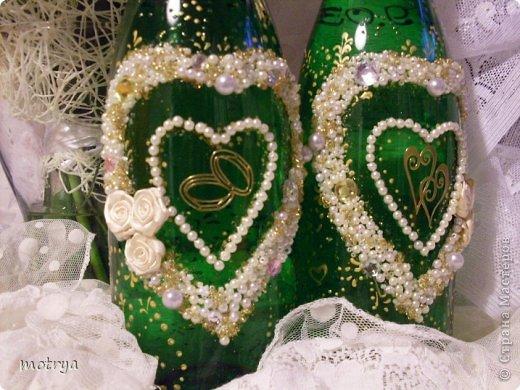 Декор предметов Свадьба Аппликация Свадьба Бисер Бусинки Бутылки стеклянные Стекло фото 2.