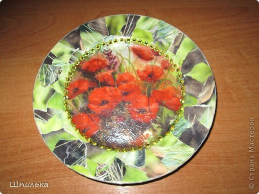 """""""Летнее настроение"""" тарелочка(материал:Тарелка,салфетка,яич.скорлупа,клей ПВА,лак акриловый,краска акриловая белая) фото 20"""