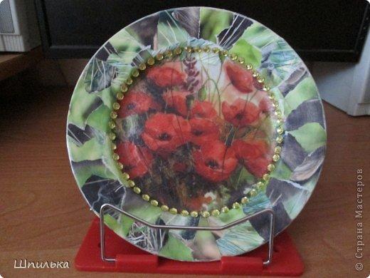 """""""Летнее настроение"""" тарелочка(материал:Тарелка,салфетка,яич.скорлупа,клей ПВА,лак акриловый,краска акриловая белая) фото 21"""