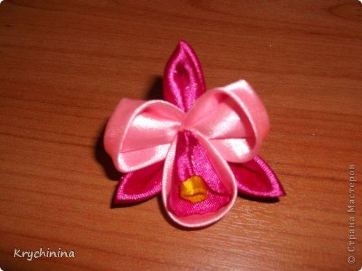Мастер-класс Украшение Цумами Канзаши Орхидея Ленты фото 1