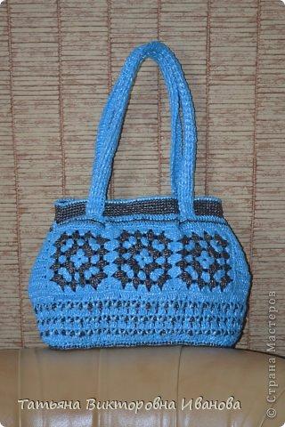 """Доброго времени суток дорогие мои жители нашей страны! И вновь я представляю новую коллекцию сумок из моих любимых пакетов. Первая сумка пляжная связана в подарок коллеге по работе. Я её назвала """"Подсолнух"""". фото 15"""