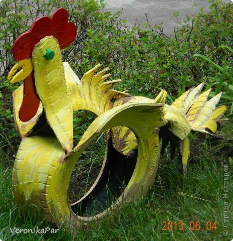 Петух из шин для сада и огорода мастер класс