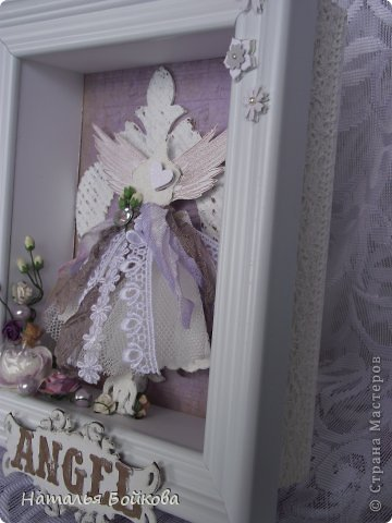 Декор предметов Поделка изделие Скрапбукинг Ассамбляж Шедоу бокс С новосельем  и Мой ангел Бумага Дерево фото 13
