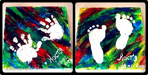 Скоро мы поедем к нашей бабушке в гости, и захотелось мне сделать для нее подарок от внука))))) Купила холсты, пальчиковые краски и стали творить)))) фон конечно по большей части я рисовала, но штришки сына тоже присутствуют))))) фото 4