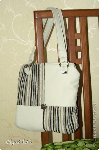 Моя первая сумочка из кожзама и ткани, внутри синтепон, подкладка, один карман. фото 1