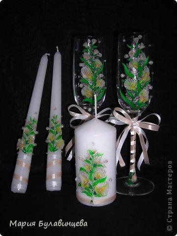 Декор предметов Свадьба Лепка Роспись Свадебные бокалы и свечи ручной работы Бисер Бусинки Клей Ленты Пластика фото 2.