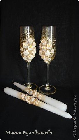 Декор предметов Свадьба Лепка Роспись Свадебные бокалы и свечи ручной работы Бисер Бусинки Клей Ленты Пластика фото 5.