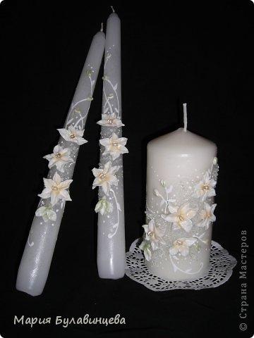 Декор предметов Свадьба Лепка Роспись Свадебные бокалы и свечи ручной работы Бисер Бусинки Клей Ленты Пластика фото 17.