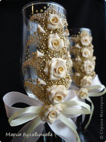 Декор предметов Свадьба Лепка Роспись Свадебные бокалы и свечи ручной работы Бисер Бусинки Клей Ленты Пластика фото 31.