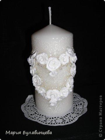 Декор предметов Свадьба Лепка Роспись Свадебные бокалы и свечи ручной работы Бисер Бусинки Клей Ленты Пластика фото 19.