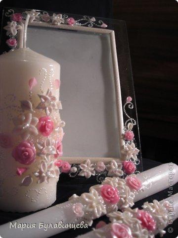 Декор предметов Свадьба Лепка Роспись Свадебные бокалы и свечи ручной работы Бисер Бусинки Клей Ленты Пластика фото 14.