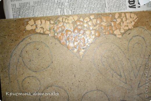 Картина панно рисунок Мастер-класс 8 марта День матери Аппликация Панно из круп + мини МК Гуашь Клей Кофе Краска Крупа Материал природный Семена Скорлупа яичная Фанера Шпагат фото 23